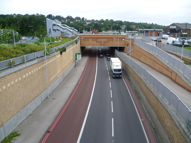 Coulsdon Relief Road passes under Coulsdon Town (formerly Smitham) station