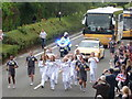 SZ0894 : Ensbury Park: the Olympic torch arrives by Chris Downer