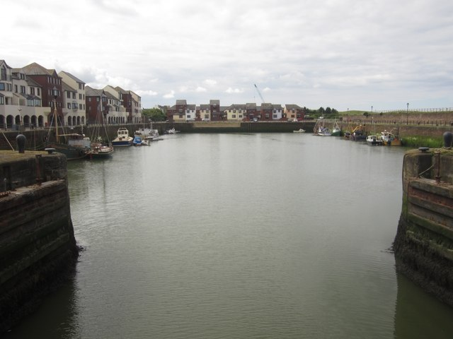 Looking south into the harbour from the footbridge, Maryport