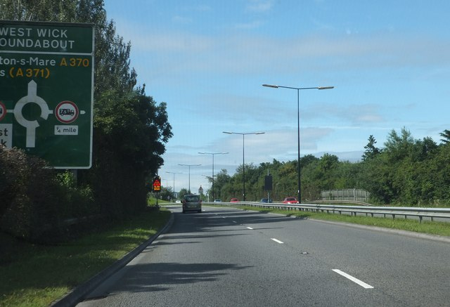 Approaching West Wick Roundabout