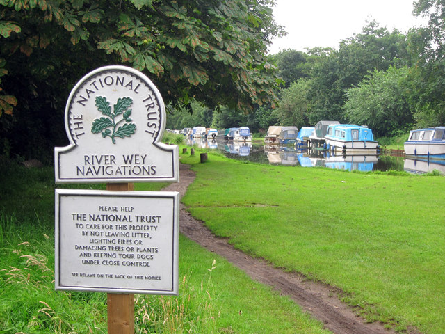 National Trust sign at River Wey Navigations