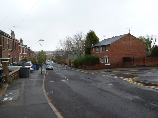 Junction of Broomspring Lane and Gloucester Street