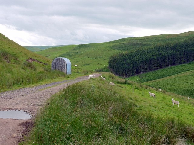 Farm hut above the Sourhope Burn