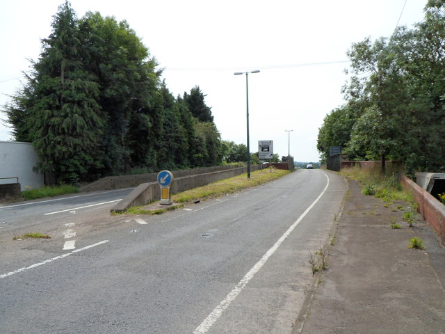 No pavements across an A38 railway bridge