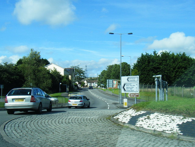 A4061 roundabout at Bryncethin