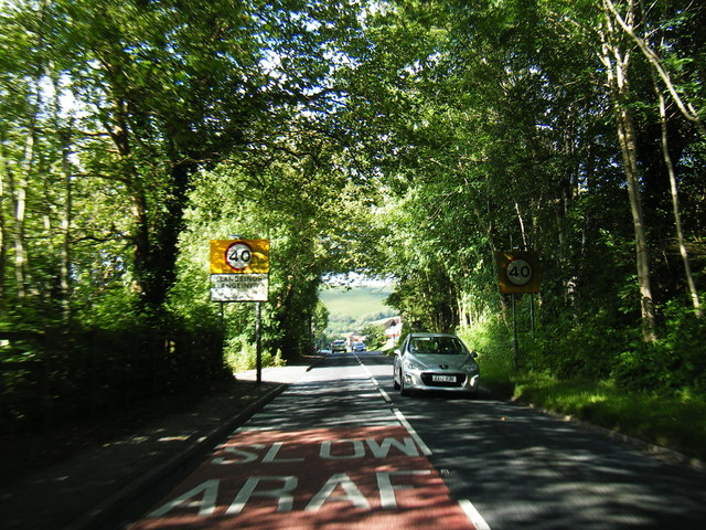 A4064 at Llangeinor village boundary