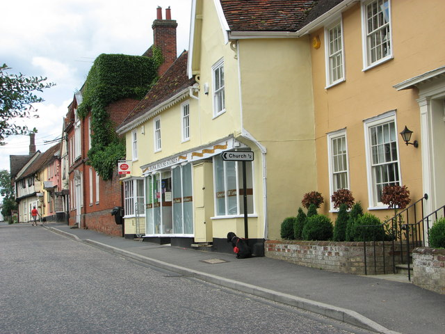 The B1115 road past Bank House Stores, Bildeston