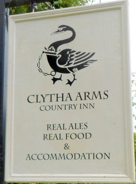 West-facing side of the pub sign, Clytha Arms