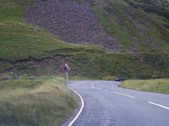 Bwlch y Clawdd Road, hairpin and falling rocks sign