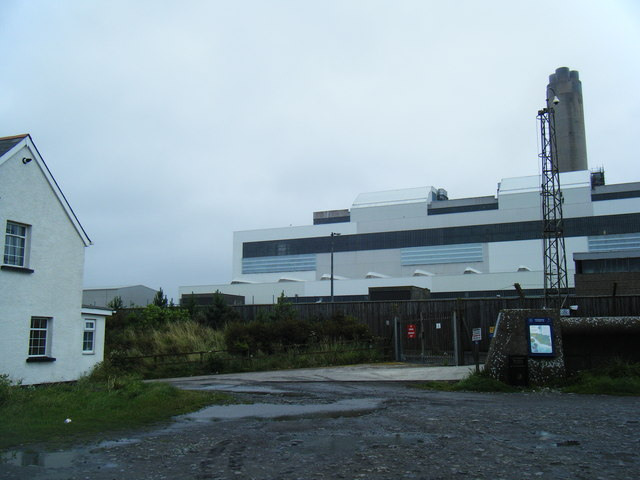Car park at Limbert with Aberthaw Power Station behind