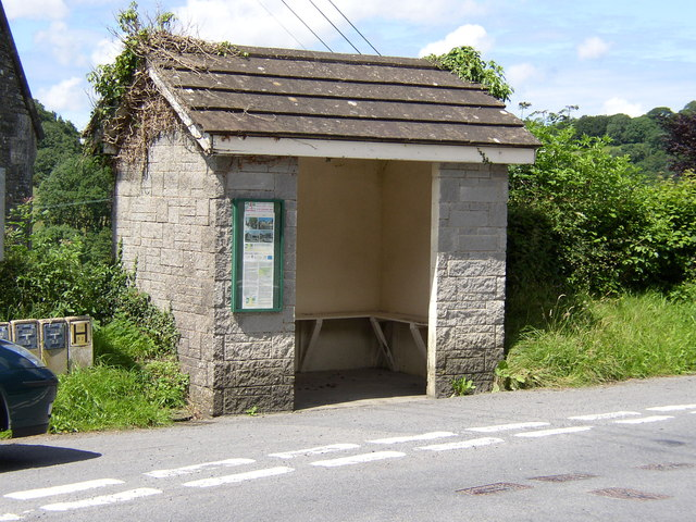 The substantial bus shelter at Capel Dewi