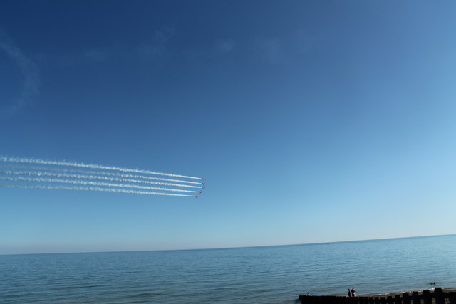 Red Arrows off Hastings Beach