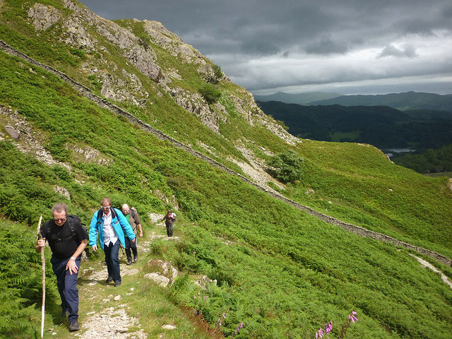 Climbing onto Lingmoor Fell