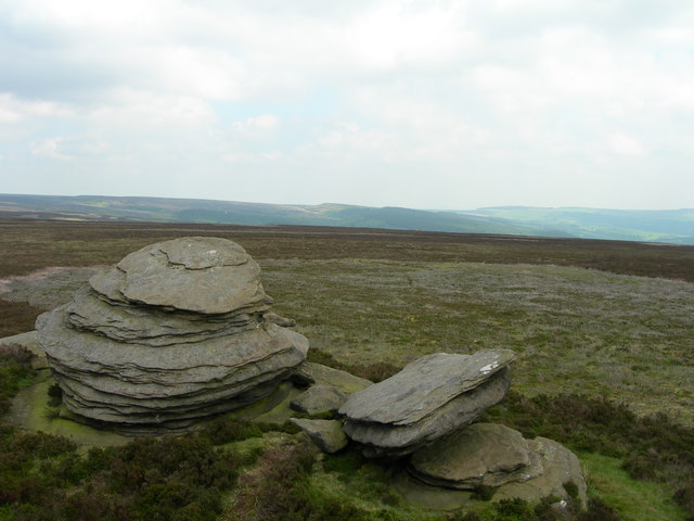 Northeast view across Derwent Moor from the Wheel Stones