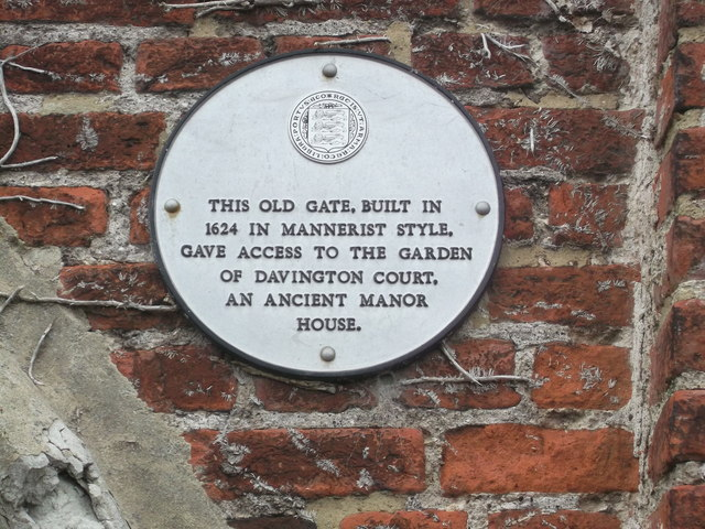 The Old Gate Plaque, Davington Court, Faversham