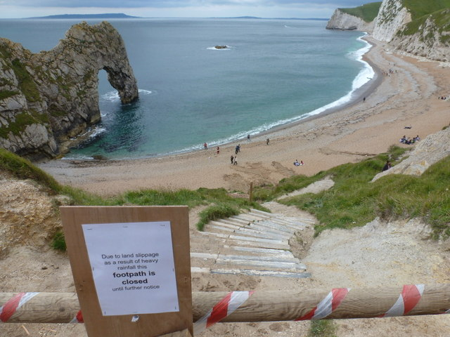 West Lulworth: the path to Durdle Door beach is closed