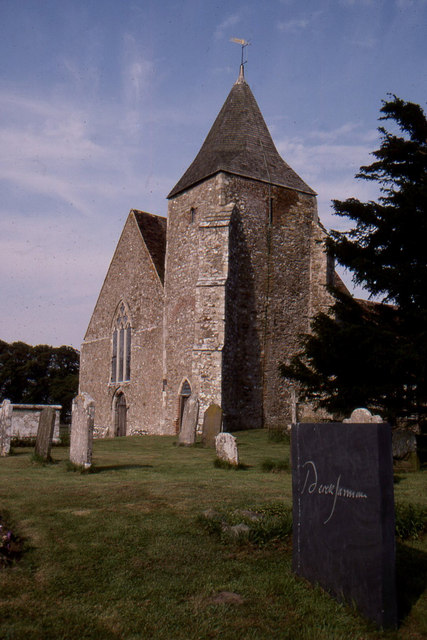St Clement's Church, Old Romney, with Derek Jarman's grave