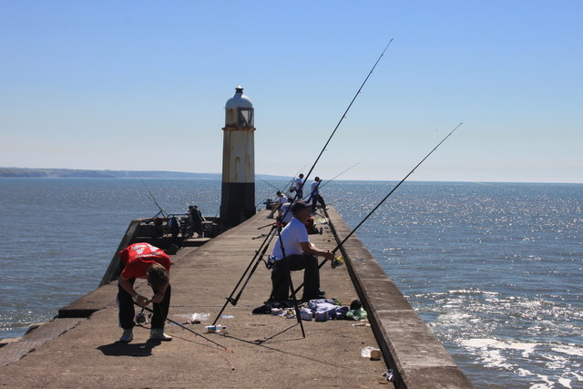 Fishermen on Porthcawl breakwater