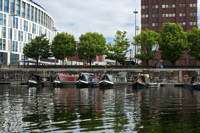 Canal boats in Liverpool docks