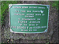 SJ7661 : King George's tree - plaque by Stephen Craven