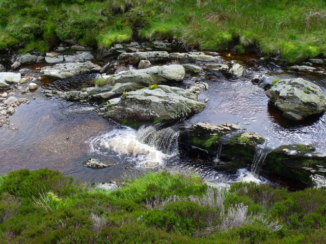 Rock step in Burn of Duskintry near Glen Lethnot