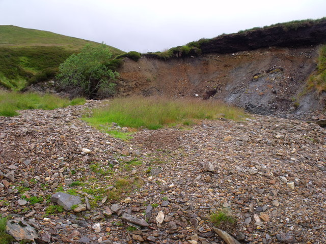 Erosion scar and outfall rubble from Muckle Sauchan Burn above Glen Lethnot
