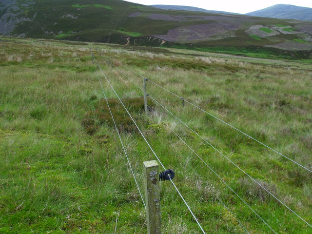 Electric fence at foot of Corrie Duff near Glen Esk in Angus