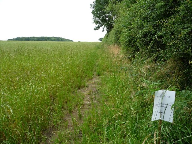 Unmapped but well-used field edge footpath