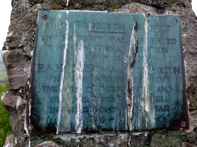 Plaque on High Wheeldon trig point