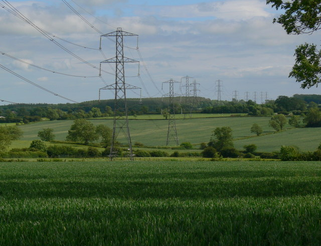Eleven electricity pylons