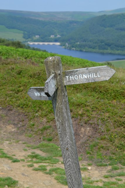 Signpost at Thornhill Carrs with view to Ladybower