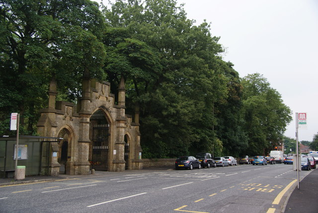 The gates to Rochdale Cemetery