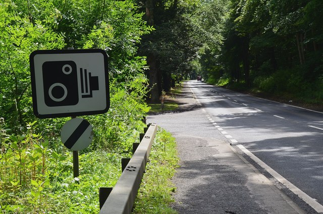 Speed camera sign, A68 near Jedburgh