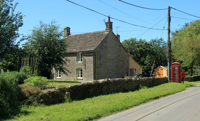 2012 : Cottage, telephone box and postbox Littleton Drew
