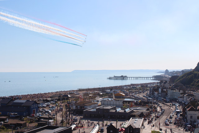 Red Arrow over Hastings seafront