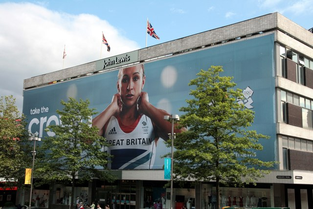 John Lewis store gift wrapped for the Olympics
