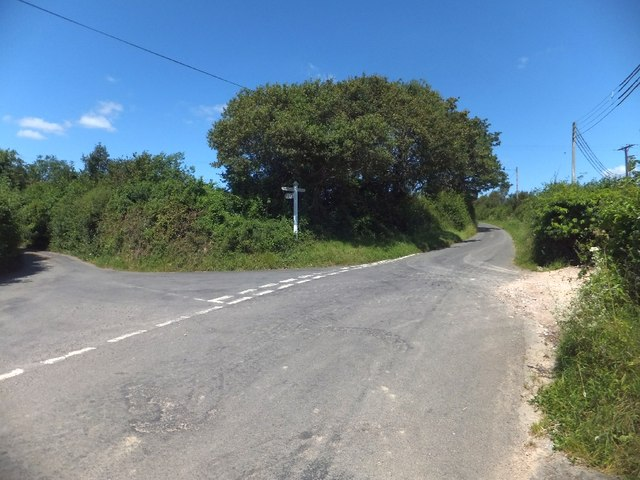 Road fork near Combeshead Copse