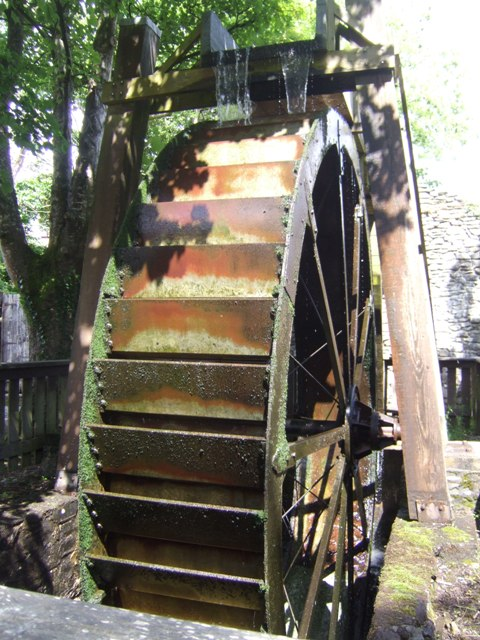 Overshot wheel at former mill site