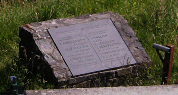 Carmarthen flood alleviation scheme plaque