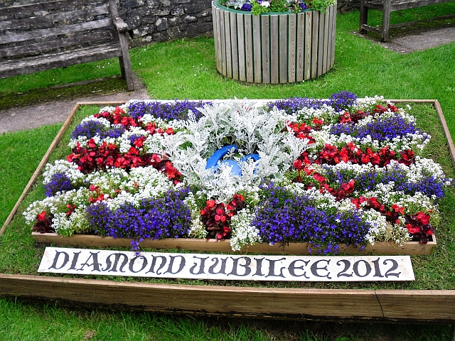 Diamond Jubilee floral display near Nunney Castle