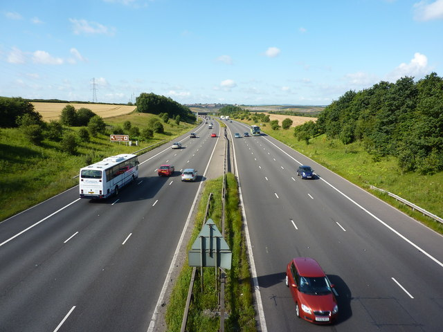 M1 motorway from a footbridge