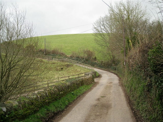 Bend in the lane past Little Coombe