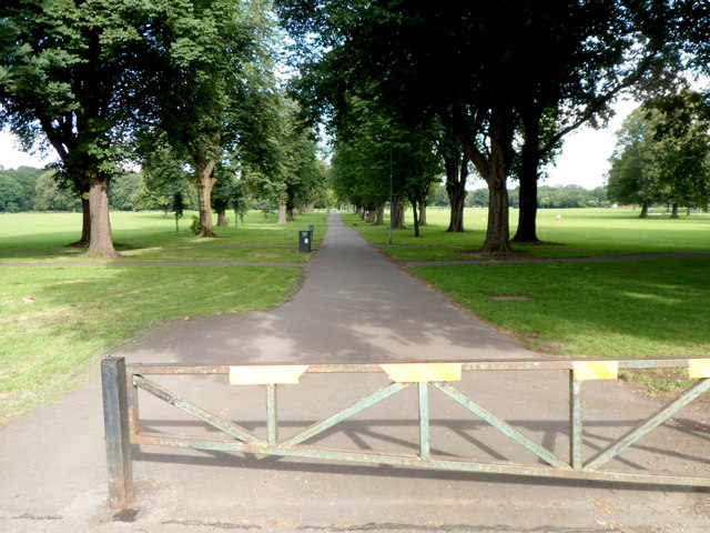 Tree-lined path through Llandaff Fields, Cardiff
