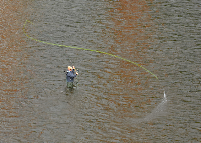 Casting for salmon in Bridge Pool