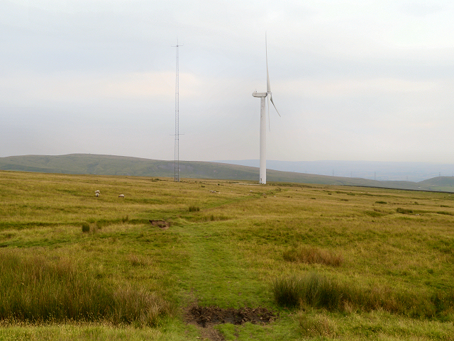 Radio Mast and Wind Turbine on Knowl Moor
