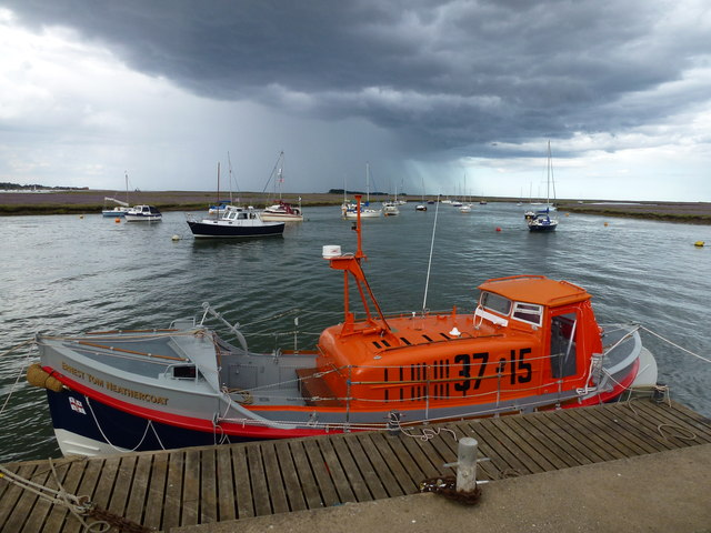 Lifeboat on the edge of a storm at Wells-Next-The-Sea