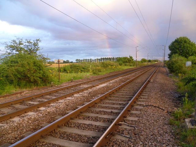 East Coast Main Line seen from Holme Level Crossing