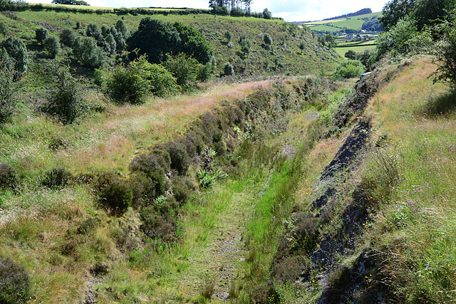 Cutting on the old Mid Wales Railway