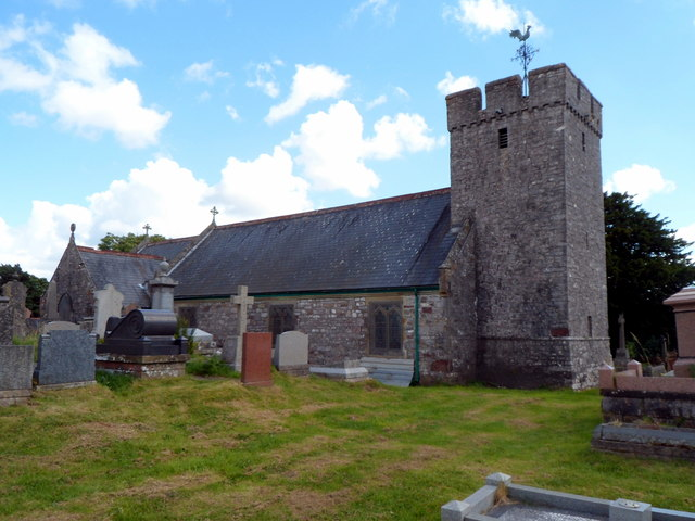 Back of Grade II listed St Cynog's Church, Penderyn
