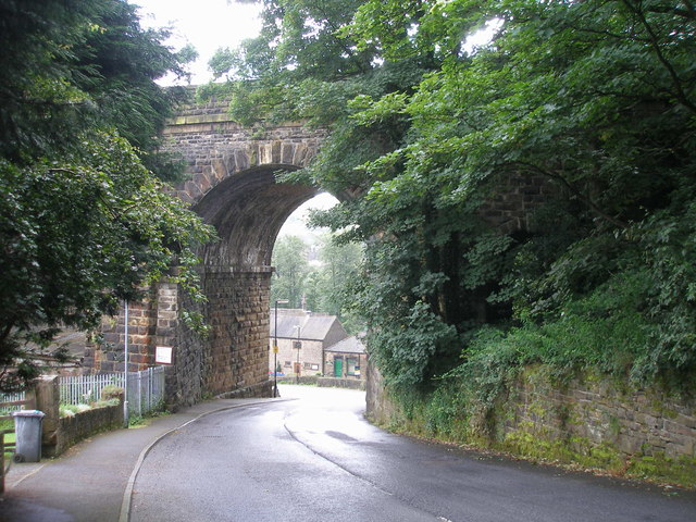 Holme Lane passes under the railway viaduct